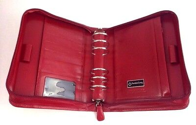 Red Italian Calfskin Leather Franklin Covey 6 Ring Planner Binder Organizer
