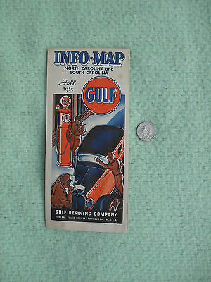 1935 Gulf Oil Refining Road Map N. & S. Carolina Advertising Vibrant Clean Minty