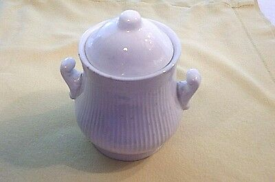 Antique 1890's J & G Meakin Ironstone Off White Sugar Bowl With Handles And Lid