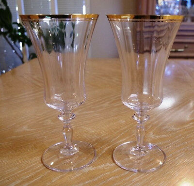 "Set of 2 Mikasa Crystal Jamestown Gold 9"" Wine Goblets Never Used"