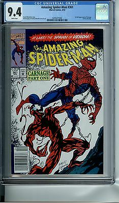 Amazing Spider-Man Spiderman #361 Cgc 9.4 White Pages 1St Full App Of Carnage