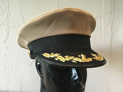 ~Genuine Us Navy Usn Officer Service Khaki Dress Hat Size 7-1/4 Bancroft Cap Sdk