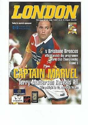 LONDON BRONCOS v BRISBANE BRONCOS Australia World Club Championship 1997