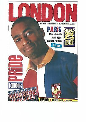 LONDON BRONCOS v PARIS St. GERMAIN 4th April 1996 First Season Super League