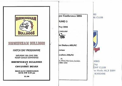 3 x RL CONFERENCE programmes 2000 season BIRMINGHAM NORTH LONDON ST. ALBANS