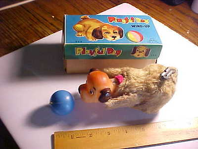 1950s JAPAN TIN & RUBBER WIND UP TOY IN BOX DOG CHASING A BALL VG+ WORKS