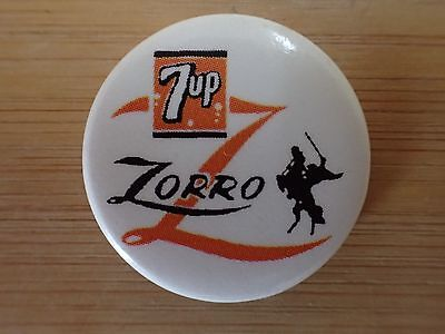 Zorro and 7-Up Soft Drink Promotional Pin 1957 Walt Disney Productions