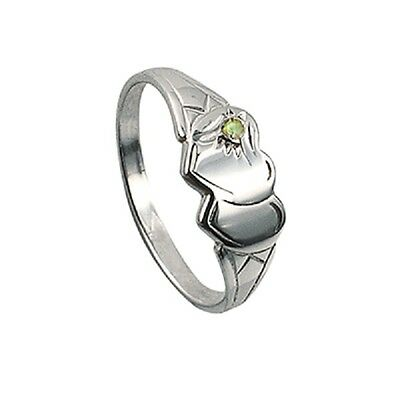 Girls/ladies Double Heart 925 Sterling Silver Signet Ring With Peridot Stone