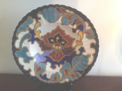"Gouda Art Pottery Holland Regina Charger Plate 11"" Rosario Art Deco Period"