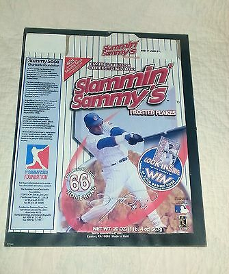 2000 Slammin' Sammy's Cereal Box Chicago Cubs Sammy Sosa Frosted Flakes 66 HRS