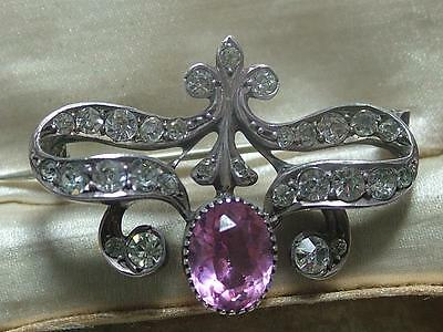 Antique Victorian Pink & Diamond Paste Silver Lace Pin / Brooch