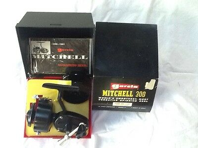 Rebuilt Vintage Garcia Mitchell 300 Spinning Reel, Instructions, Case, And Spare