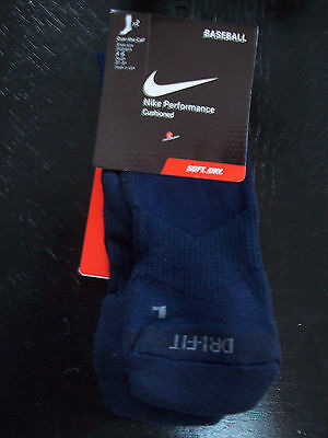 Nike Women's Baseball Dri-Fit Cushioned Over Calf Socks NAVY SZ 4-6 2 Pairs NEW