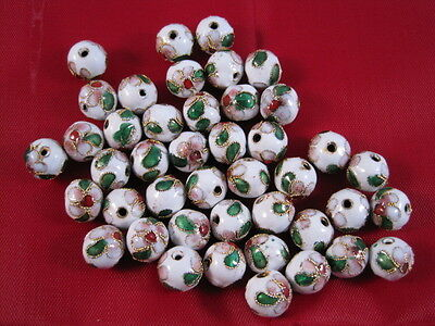 50 pieces, 6mm 'White' Cloisonne Beads