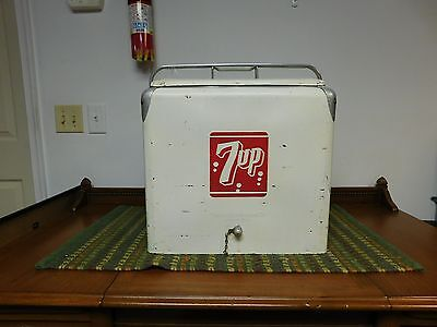 Vintage 7 Up Cooler 1950'S With Sandwich Tray
