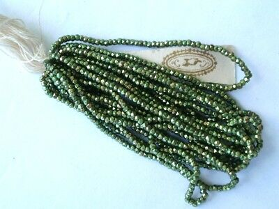 Rare Antique Hank Victorian French Steel Cut Metal Bead Green Purse Doll Jewelry