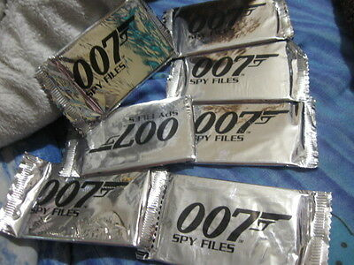 """Seven (7) Sealed Packets Of Nrfb 007 """"spy Files""""! 2002! James Bond! Look!"""