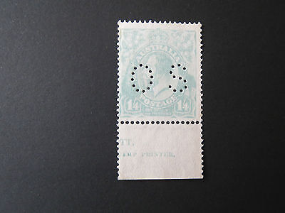 AUSTRALIA.KGV.1/4d BLUE.PERFED OS.SINGLE WMK.MINT NO GUM.