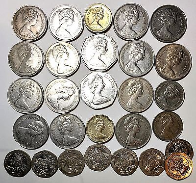 GREAT BRITAIN 28 Coin Lot  £1 50 New Pence 20 10 5 1968 1991