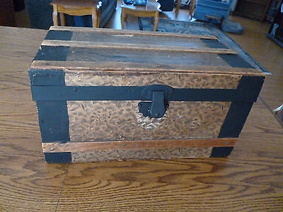 Antique Victorian Child's Wood Doll's  Trunk 14' LONG