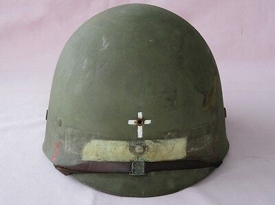 Original WW2 U.S. M1 Helmet Liner Complete with Painted CHAPLAIN'S Insignia ! !