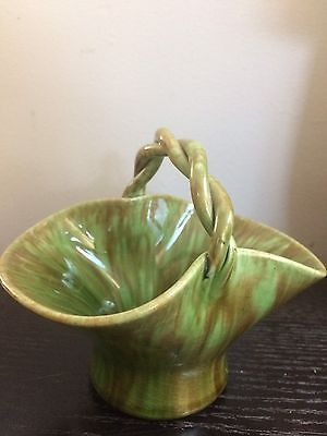 Collectable Vintage  Australian Pottery Small  Handled Basket Bowl