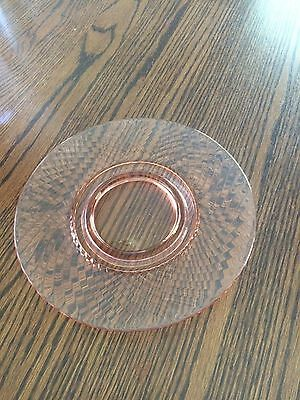 """Vintage Pink Depression Glass Twisted Optic 9.25"""" Plate"""