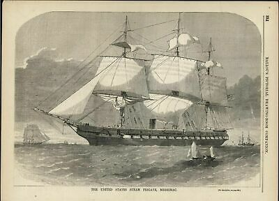 United States Steam Frigate Merrimac US Navy 1856 antique engraved print