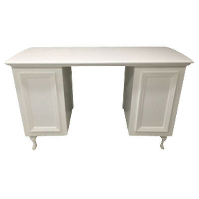 Medium Moulded Panel Front Manicure Desk - Shabby Chic - supplied with glass top