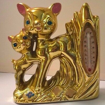 Retro Kitsch Vintage Gold Thermometer & Bud Vase Doe & Fawn unmarked Japan