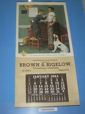 """Boy Scout 1964 Large Calendar Norman Rockwell 22""""x46"""" New with all Months/Pages"""