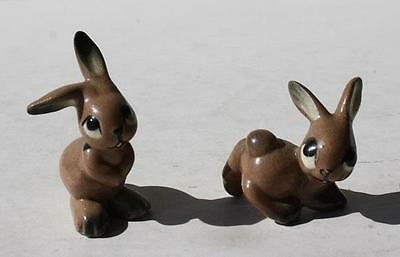 Set of 2 Vintage Bone China Porcelain Miniature Bunny Rabbit Figurines-Adorable