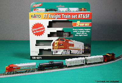 KATO 1066271 N F7 Freight TRAIN SET AT&SF Locomotive & 4 Cars 106-6271