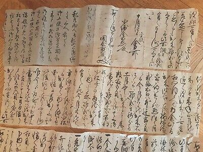 Old Chinese Japanese Scroll Hand Writing Character Calligraphy