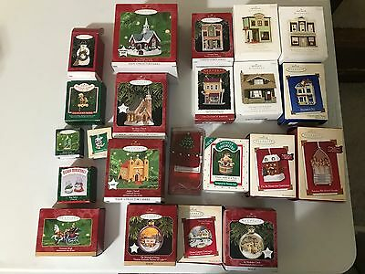Hallmark Ornament Lot 22 Nostalgic Houses Shops Candlelight Series Kinkade Magic