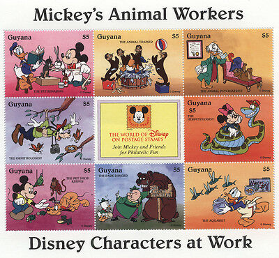 GUYANA DISNEY On Stamps MICKEY Mouse ANIMAL WORKERS Donald Goofy Pluto Minnie