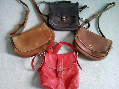 Lot of 4 Vintage Authentic COACH Full Grain Cowhide Leather One Owner Handbags