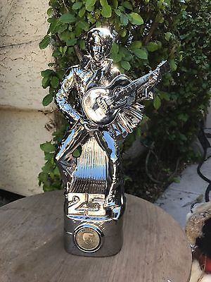 Platinum Silver 25th Anniversary Elvis Presley Decanter Music Box WORKS Empty