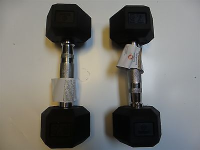 Body Sport Rubber Encased Hex Dumbbell Knurled Chrome Handles 7.5 lbs Set of 2