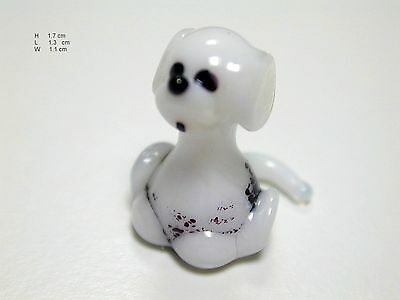 Sitting Dalmatian Puppy -  Hand Made Art Glass Dogs miniature  figurines