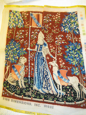 Dimensions Completed Needlepoint Tapestry-Sense of Touch 2186 Lady and Unicorn