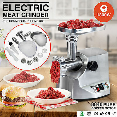 New 1800W Electric Meat Grinder Sausage Stainless Steel Stuffer 3 Cutting Blades