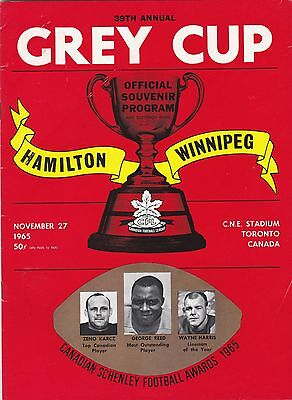 1965 Cfl Grey Cup Official Program,hamilton--Winnipeg,c N E Stadium.