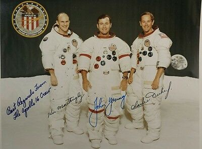 Apollo 16 crew autopen signed 8x10 photo