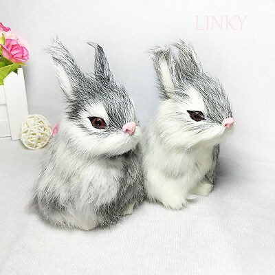 1Pc Simulation rabbit toy lifelike real furs animal model home decor kids gift
