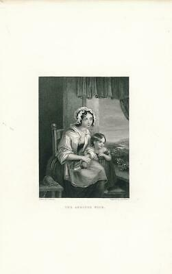 Young mother & child anxiously waiting ca. 1850's era Love Female antique print