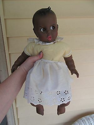 Gerber Baby Doll Black African American 1979 Flirty Eyes 17'' Tall in yellow/wht