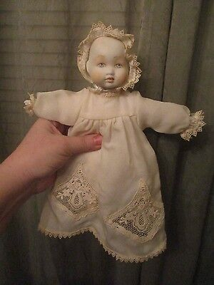 """10"""" Bisque head & limbs with cloth body christening dress furga Italy A02-76"""