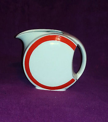 """Art Deco Disk Water Pitcher 6 3/4"""" White with Red Accent Mid Century Excellent"""