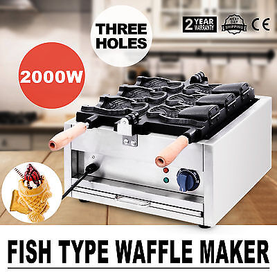 Commerical Taiyaki Fish Waffle Maker Machine 3Pcs 2000W Fryer Baker Ice Cream
